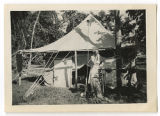 [Daphine Doster Mastroianni in front of tent, India, 1945]
