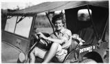[Agnes Cantwell in jeep, 1945]