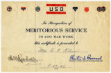 Certificate --  USO War Work (Min Klein, 1946) [Klein family papers]