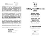 2003-12-07 Holiday Choral Concert [recital program]