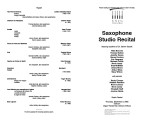 2002-12-05 Saxophone Studio Recital [recital program]