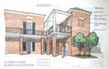 [Architectural rendering of the Alumni House]