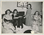[Four Students in Dorm Room, Late 1940s]
