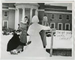 [Snow Woman in Front of the Library, 1960]