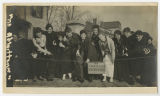 "[Students Behind ""No Admittance on Sunday"" Sign, 1918]"
