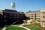 [Tower Village 1 Residence Hall courtyard]